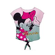 [P] Disney Junior Girls' Minnie Mouse Tie Dye Front Tie Crop Top - Multicolor (MD)