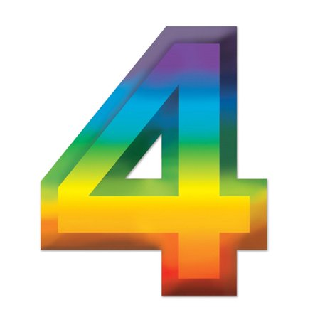 "Walmart Seller Central >> Club Pack of 24 Bright Rainbow 3-D Number ""4"" Party Decorations 11"" - Walmart.com"