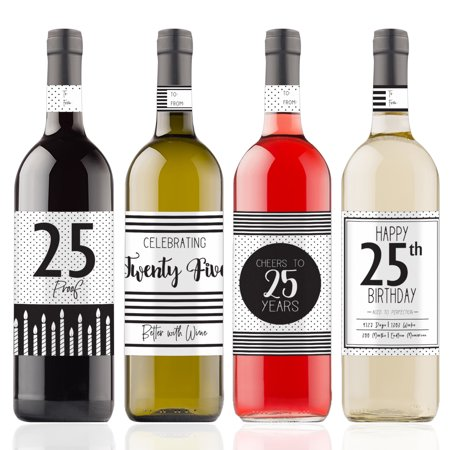 25th Birthday Wine Bottle Stickers, 4ct - Black and White Stripe and Polka Dot Birthday Party Supplies - 4 Wine Labels with Gift Tags