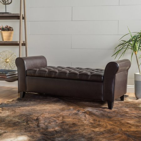 Stupendous Ultima Leather Armed Indoor Storage Bench Walmart Com Lamtechconsult Wood Chair Design Ideas Lamtechconsultcom