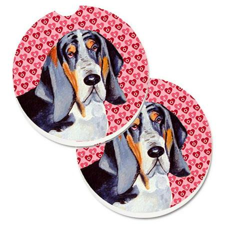 Basset Hound Hearts Love & Valentines Day Portrait Set of 2 Cup Holder Car Coaster - image 1 de 1