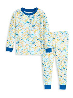 Burt's Bees Baby Snug Fit Organic Cotton Baby & Toddler Boy Long Sleeve Pajamas, 2pc Set