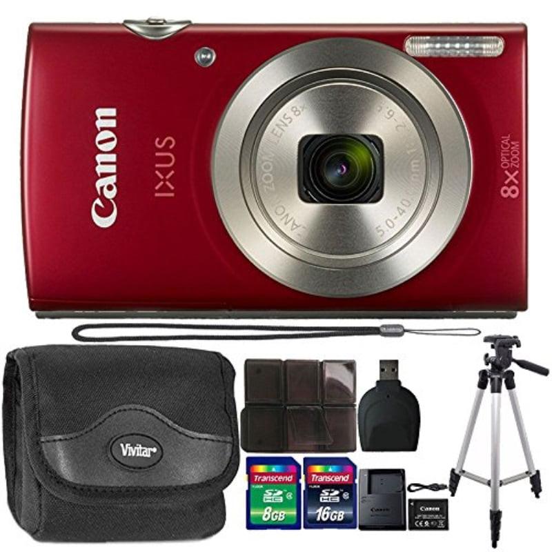 Canon IXUS 185 20.0 MP Compact Digital Camera Red + 24GB Memory Card + Wallet + Reader + Case + Tall Tripod