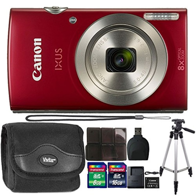 Canon IXUS 185 20.0 MP Compact Digital Camera Red + 24GB Memory Card + Wallet + Reader + Case + Tall Tripod