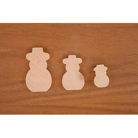 WOODNSHOP Snowman Wood 1/4 x 2 1/2 PKG 25 Laser Cut Wooden Snowman - Snowman Cut Out