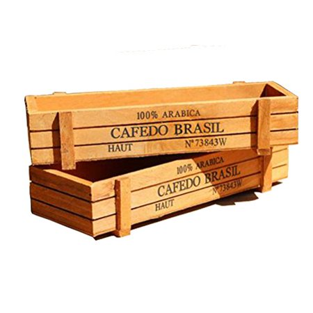 """Huouo 2 PCS 8.6"""" x 3.1"""" x 1.7"""" Rectangular Plant Container Box Garden Wood Planter Bed Pot for Succulent Herbs Flower"""