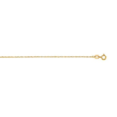 14k 20 Inch Yellow Gold Sparkle-Cut Carded Pendant Rope Chain With Spring Ring Clasp Necklace