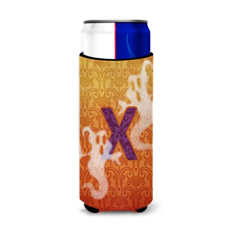 Halloween Ghosts Monogram Initial  Letter X Ultra Beverage Insulators for slim cans - Letter For Halloween