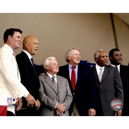 Ripken Jr Hall Of Fame - Oriole Hall of Famers Jim Palmer Cal Ripken Jr Earl Weaver Brooks Robinson Frank Robinson and Eddie Murray at Cal Ripken Jrs 2007 Hall of Fame Induction Photo Print