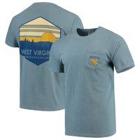 West Virginia Mountaineers Landscape Shield Comfort Colors Pocket T-Shirt - Blue