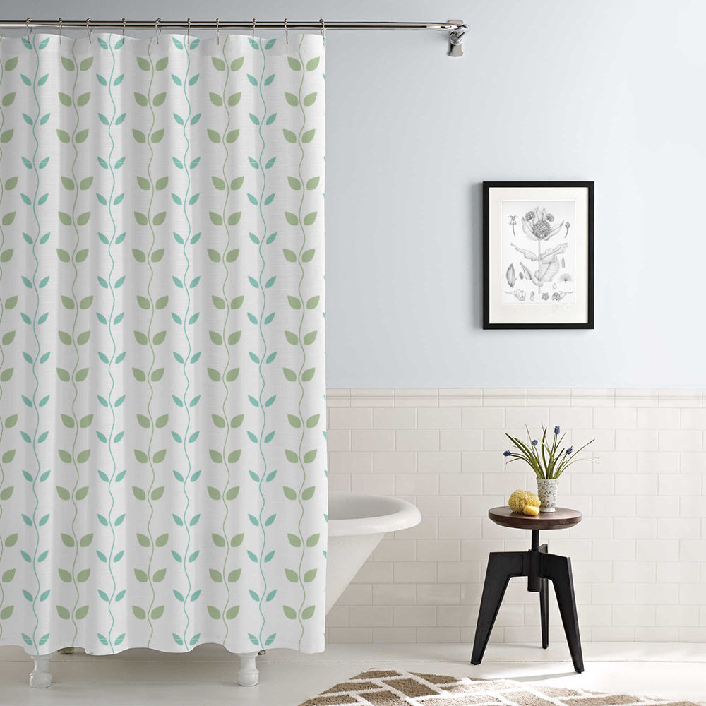 Waterproof Printed Shower Curtain Organic Vines Aqua/Sage