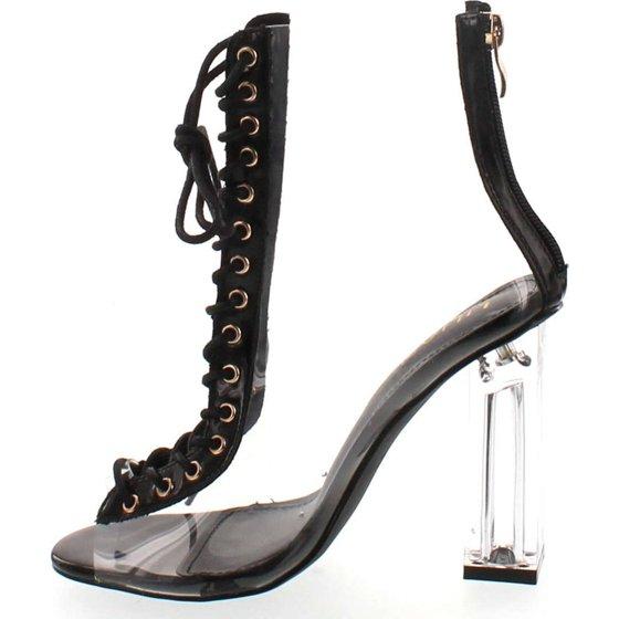 54e0b80af5b1 Liliana - Clear Translucent Transparent Lace Up Peep Toe Ankle ...