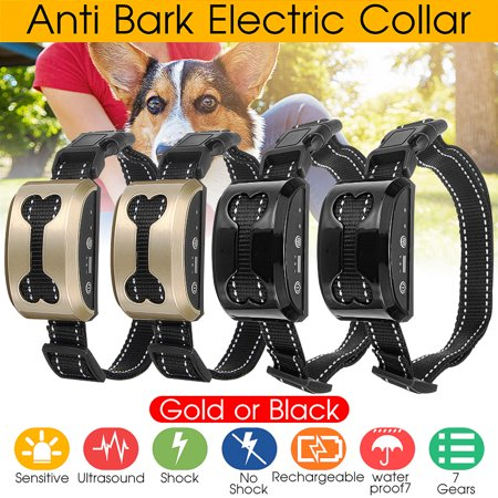 Anti Bark No Barking Shock Control Collar Warning Beeper Training System Dog Pet Ultrasonic Harmless Static Shock Waterproof Rechargeable Electric 7 Levels Sensitivity Vibration