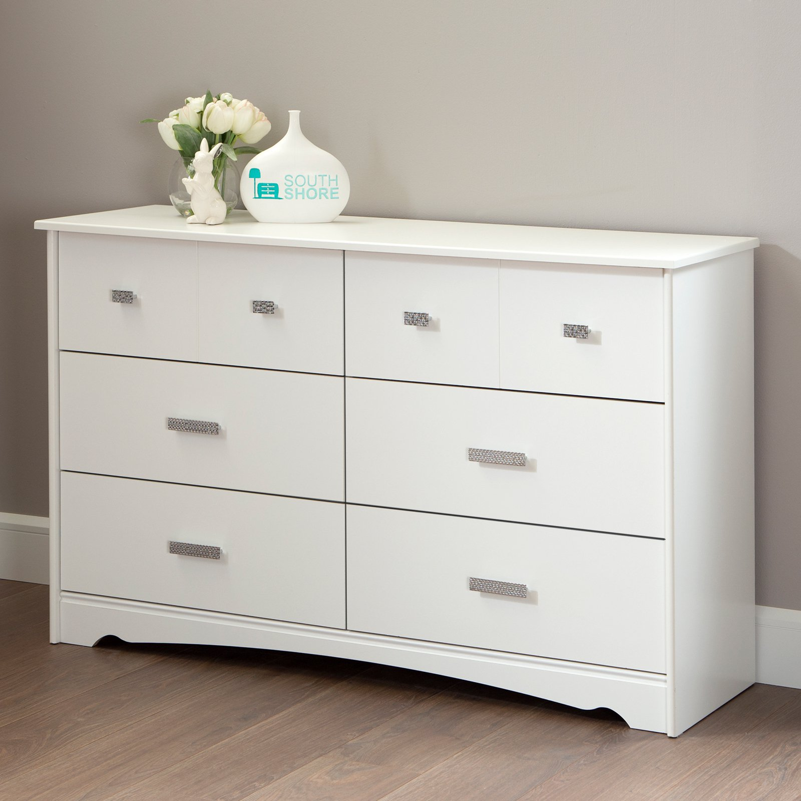 South Shore Tiara 6-Drawer Double Dresser, White