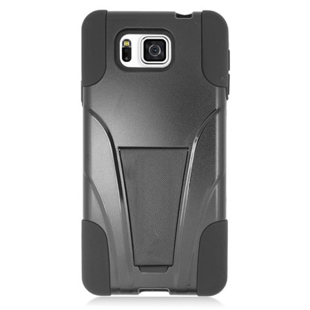 Insten Hard Dual Layer Plastic Silicone Case with stand For Samsung Galaxy Alpha - Black - image 3 of 3