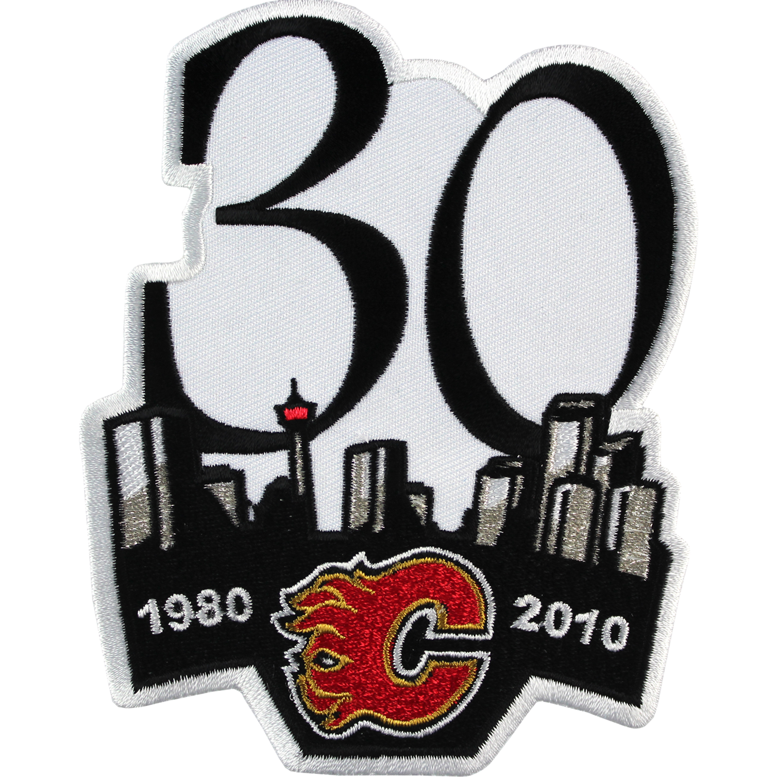 2010 Calgary Flames 30th Anniversary Season Jersey Sleeve Patch 2009 Logo Emblem
