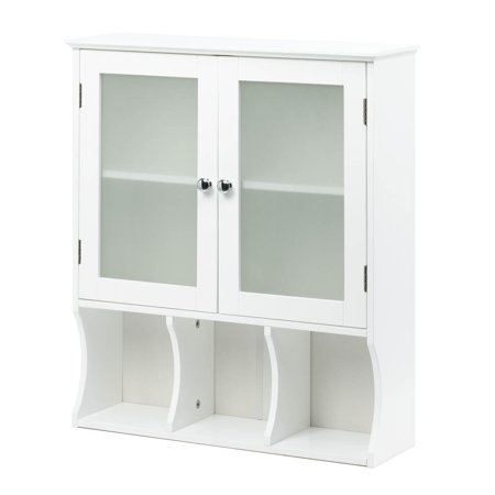 Kitchen Cabinets Bathroom Pantry Storage Cabinet With Glass Door Wood White