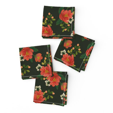 Cocktail Napkins Holiday Floral Christmas Winter Red Green Flowers Set of 4 ()