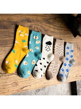 a2ff57124ad Product Image Moderna Women Girls Cartoon Egg Cloud Dog Paw Print Elastic  Autumn Winter Soft Socks
