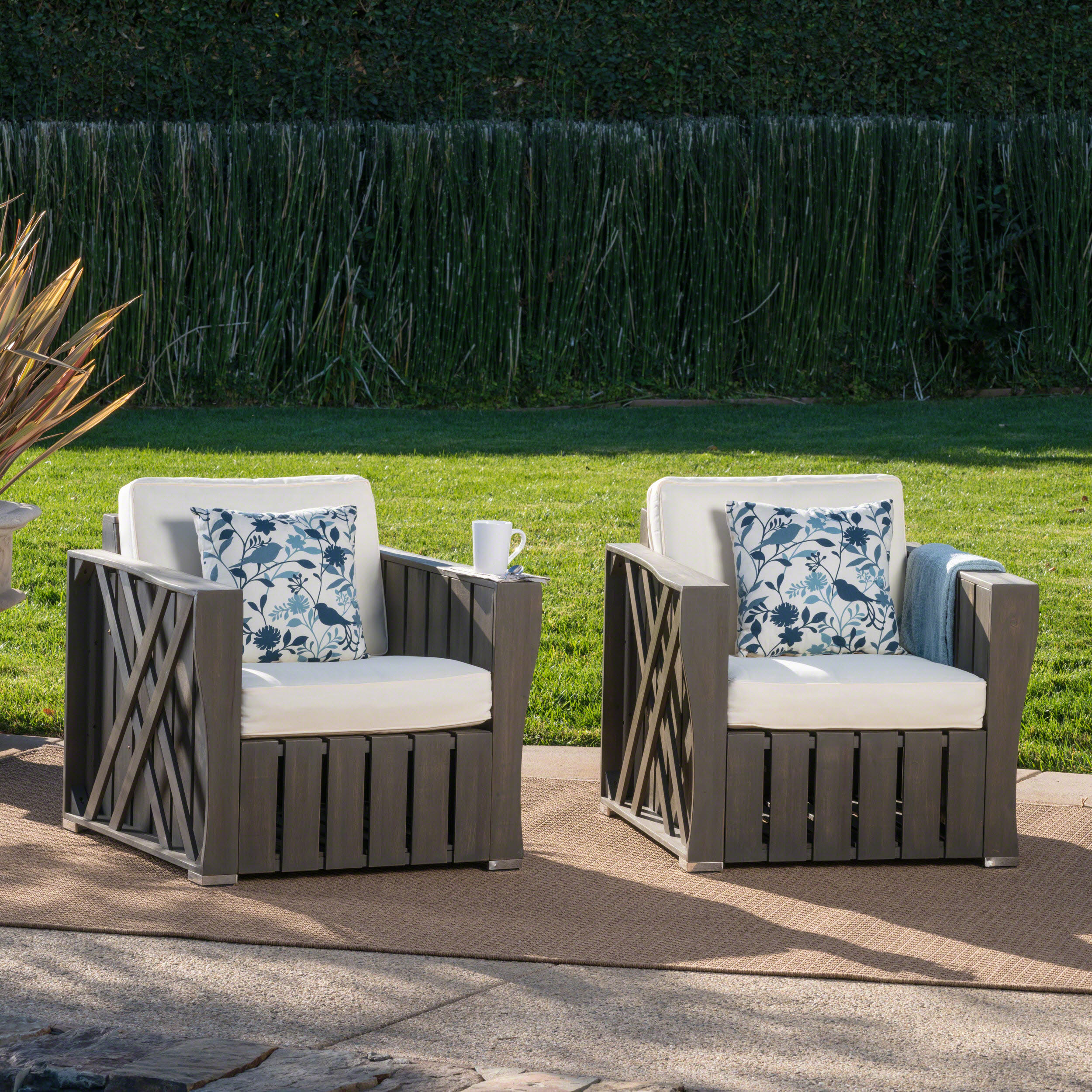 Edward Outdoor Acacia Wood Club Chairs with Weather Resistant Cushions, Set of 2, Grey Finish and Cream