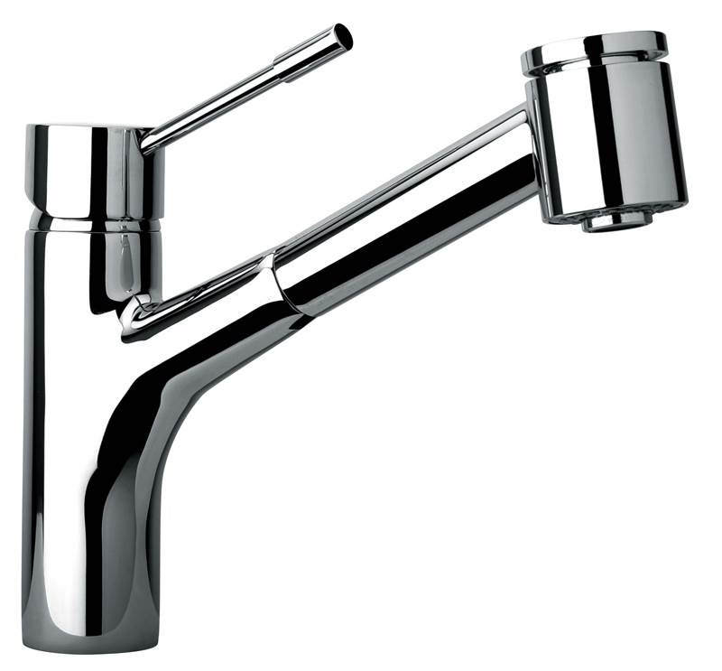Jewel Faucets Single Hole Kitchen Faucet w Pull-Out Spray Head (Chrome)