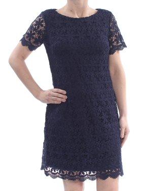 967c6b7822b2 Product Image JESSICA HOWARD Womens Navy Lace Short Sleeve Above The Knee Sheath  Dress Petites Size: 6