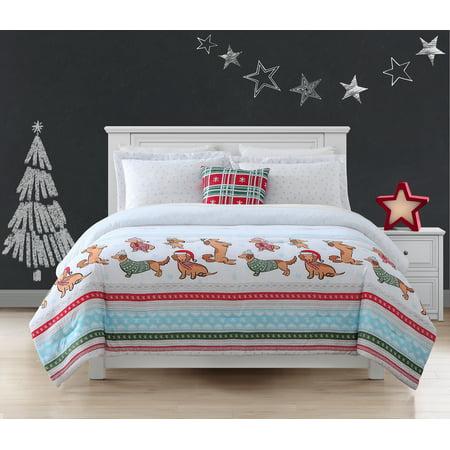 Your Zone Dashing Dachshunds Comforter and Sham Set w/ Bonus Decorative Pillow
