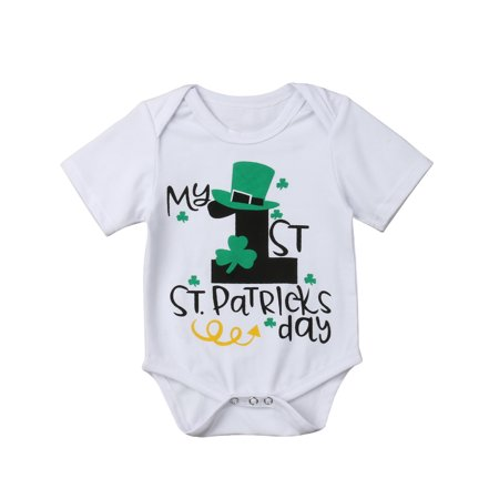 Toddler Baby's Novelty My 1st St. Patrick's day One-Piece Romper T-Shirt Family Brother Matching Outfits For Baby - First Day Of School Outfits