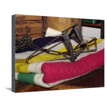 Beaver Trap on a Hudson Bay Blanket in the Reconstructed Trading Post at Fort Laramie, Wyoming Stretched Canvas Print Wall