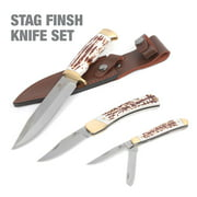 Mossy Oak 3-Piece Stag Finish Knife Set with Leather Sheath, Model 3903