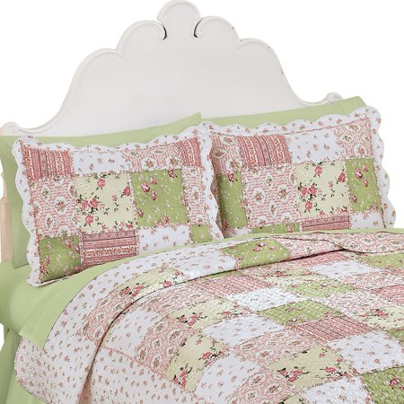 Country Bloom All Over Floral Patchwork-Style Quilted Pillow Sham, Standard, (Bloom Pillow Sham)