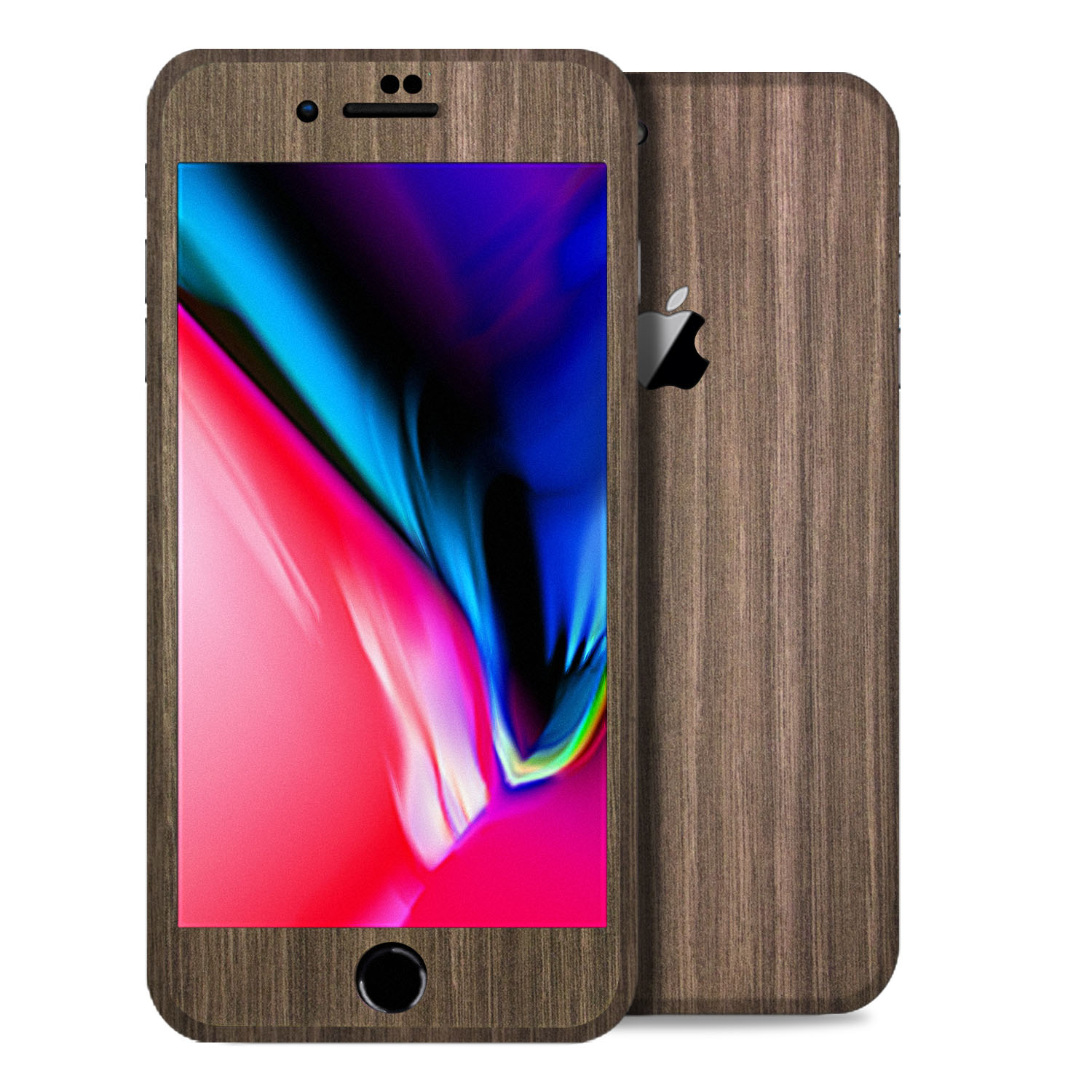 Apple iPhone 8 Plus Vinyl Skin Decal, Anti-Scratch Skin Cover for Apple iPhone 8 Brown Wood Texture - 2PK (1-Back & 1-Front) by SkylerShield