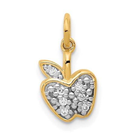 Diamond Ship Wheel Charm (Lex & Lu 14k Yellow Gold Diamond Apple Charm)