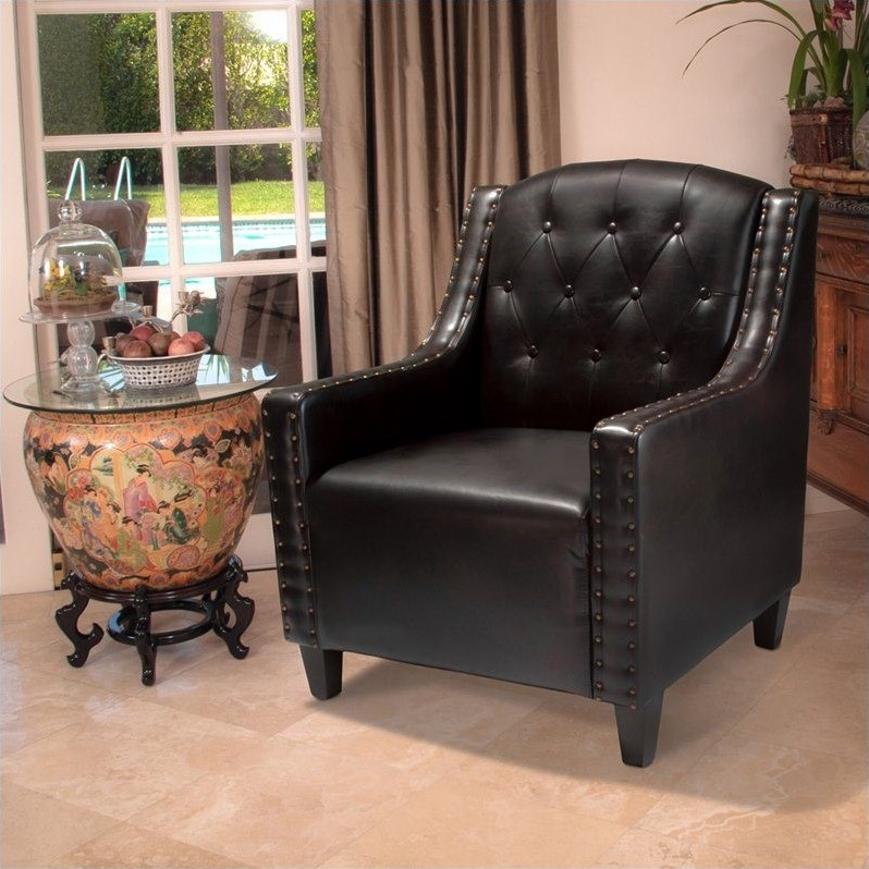 Trent Home Perez Tufted Leather Club Chair in Dark Espresso by Noble House