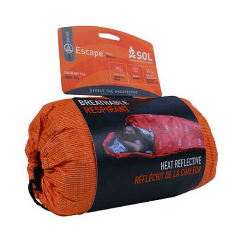 S.O.L. Survive Outdoors Longer Escape Bivvy Orange, 70 Percent Heat Reflective, Breathable Personal Shelter, Lightweight Emergency Survival Sleeping Bag Sack, Drawstring Bag, Water-Resistant, 8.1oz