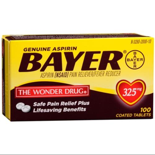 Bayer Aspirin 325mg Tablets 100 ea (Pack of 3)