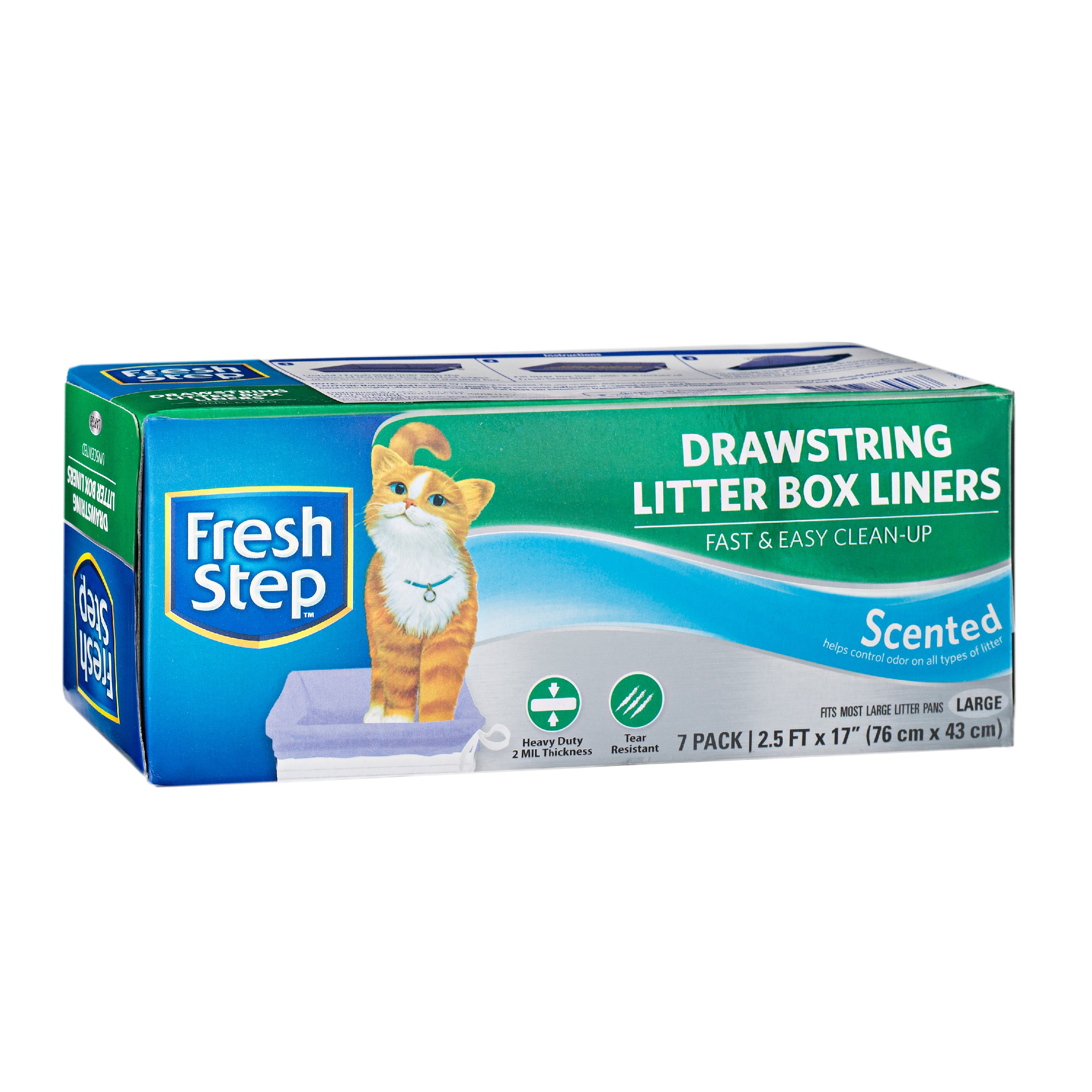 Fresh Step, Scented Cat Litter Box Liners With Drawstring, Large, 7 count