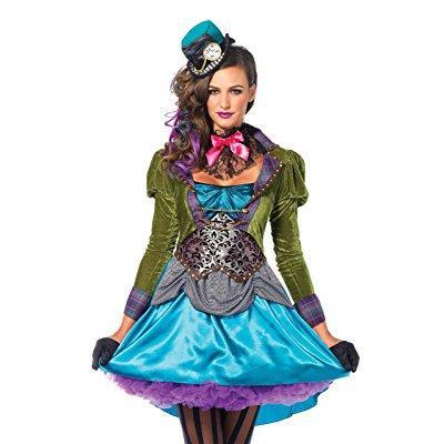 Leg Avenue Women's 3 Piece Deluxe Mad Hatter Costume, Multi, Small