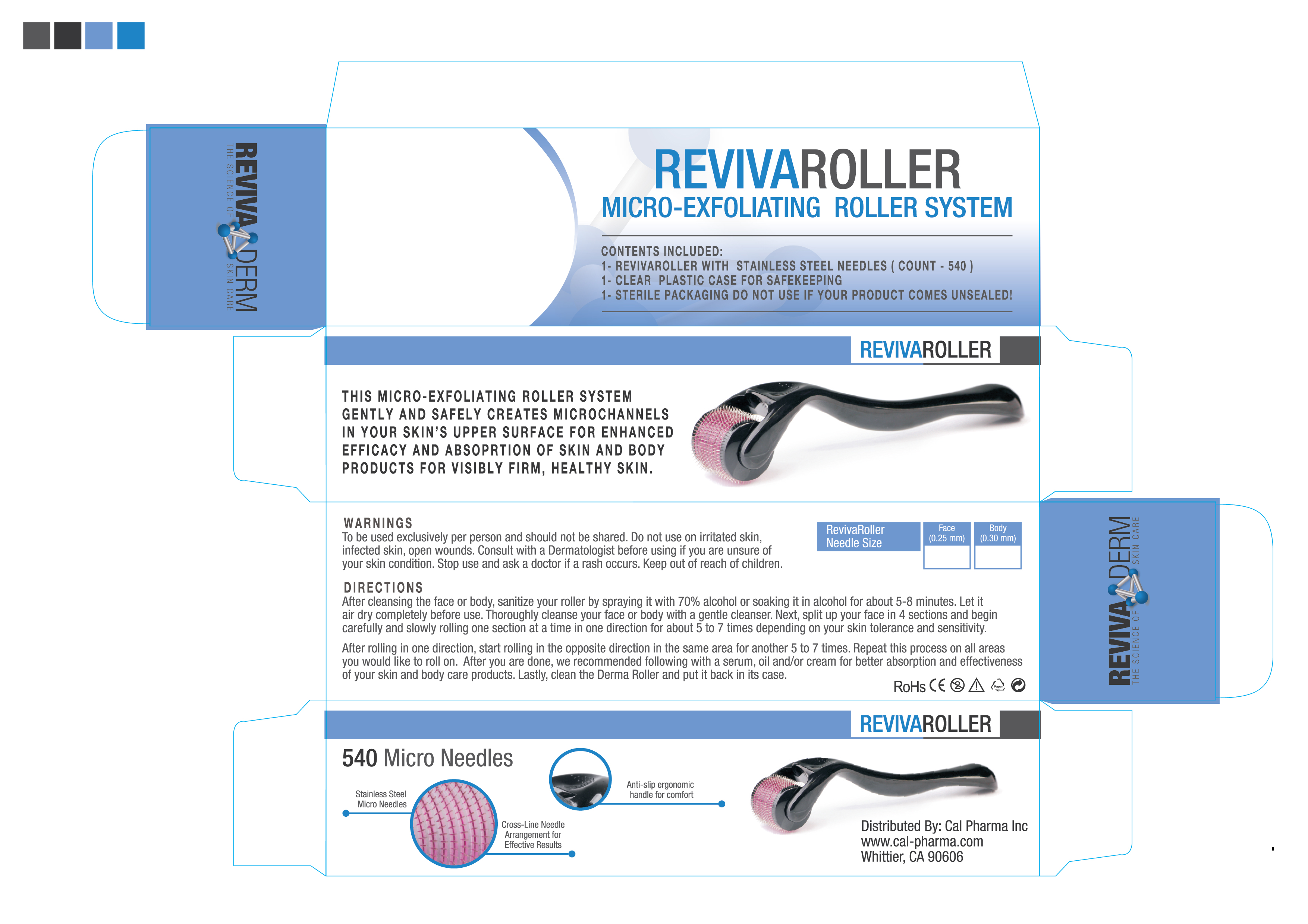 RevivaRoller Micro-Exfoliating Roller System - 540 0 25mm Stainless Steel  needles in Sterile Packaging