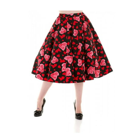 Full Skirt - Black w Red Hearts & Pink Roses - Vintage Retro Style at Hey Viv