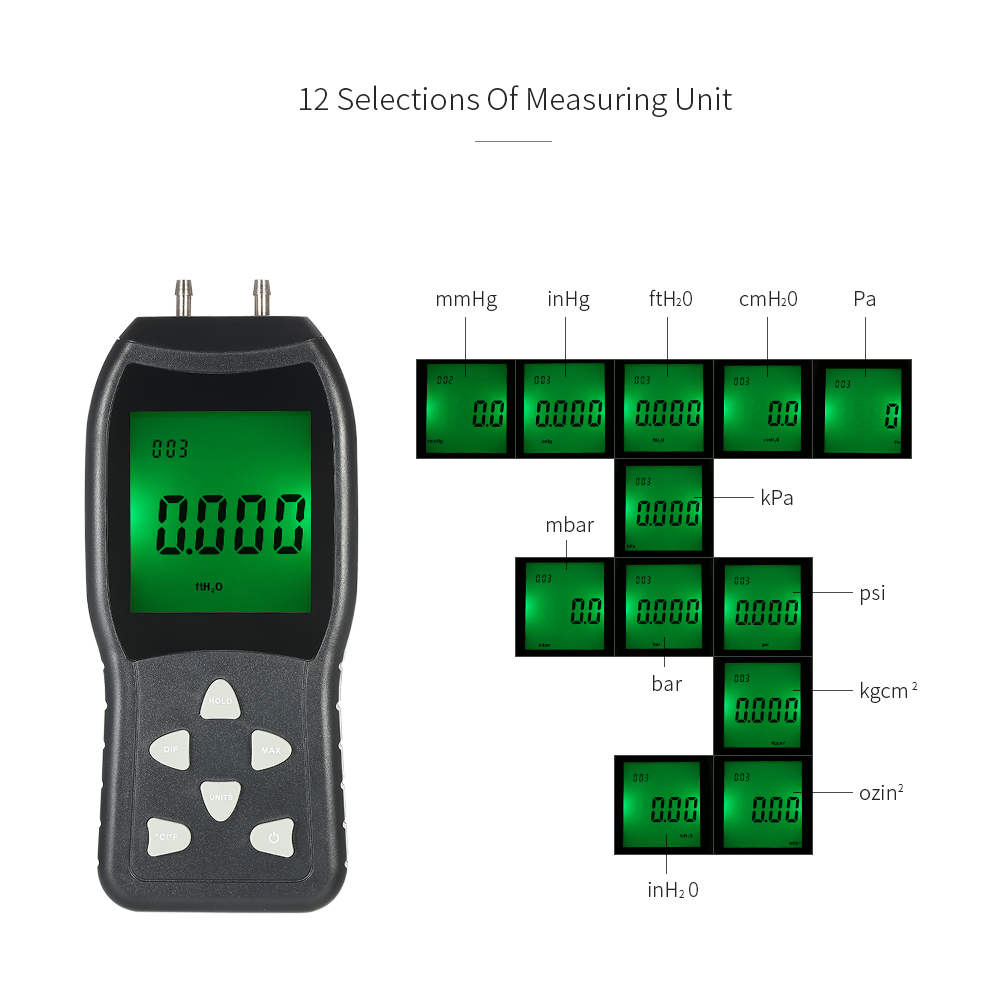 High Precision Hand-held LCD Digital Dual-port Manometer Differential Air  Pressure Gauges Tester with 12 Units of Measurement/±20 68kPa/±2 999psi