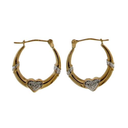 10kt Yellow Gold Textured Heart Hoop Earrings