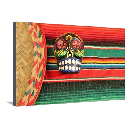 Fiesta Mexican Poncho Rug in Bright Colors with Sombrero Candy Skull Background with Copy Space Stretched Canvas Print Wall Art By - Poncho And Sombrero