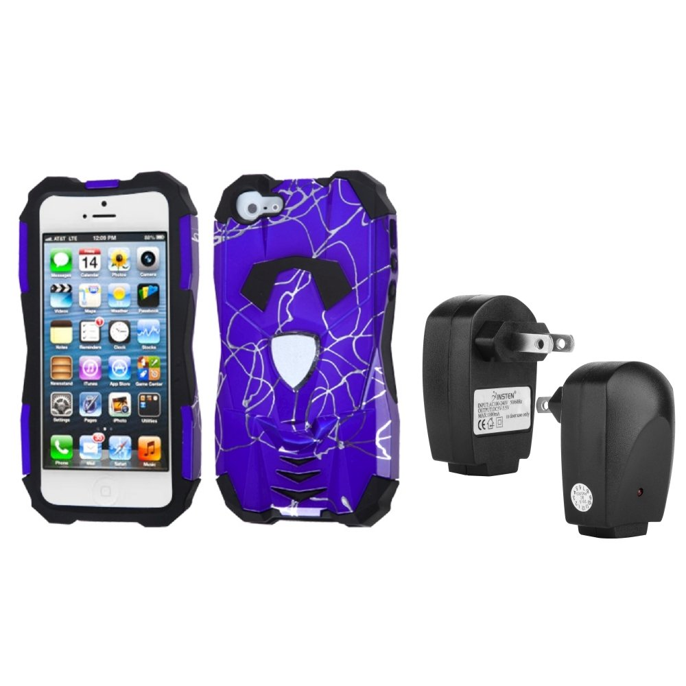 Insten Curved Lines Purple/Black Car Hybrid Case For iPhone 5+USB Travel Charger
