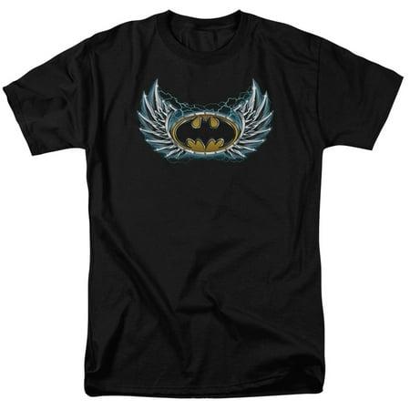 BATMAN/STEEL WINGS LOGO - S/S ADULT 18/1 - BLACK - MD