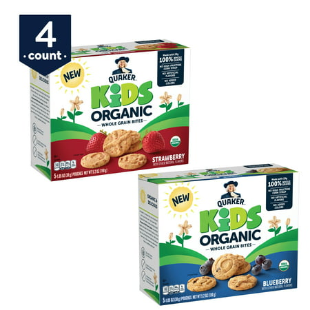 Quaker Kids Organic Whole Grain Bites, 2 Flavor Variety Pack, 4 Boxes, 20 Count - Kids Varsity