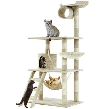 "Cat Tree Tower Condo Furniture Scratch Post Kitty Pet House Tree 64"" Beige"