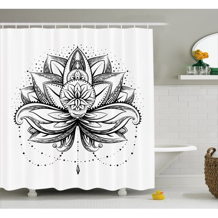 Lotus Shower Curtain Tribal Tattoo Style Petal With Dots Shadow Ornamental Ethnic Icon Fabric Bathroom Set Hooks Seal Brown White