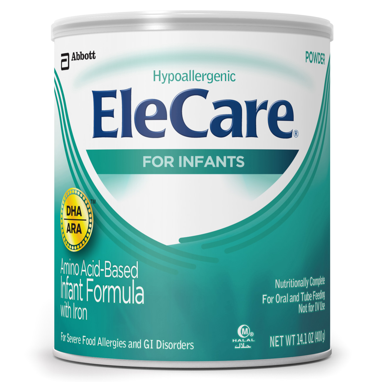 EleCare for Infants, Amino Acid-Based Formula w/ Iron & DHA/ARA, Powder 14.1 oz (Pack of 6)