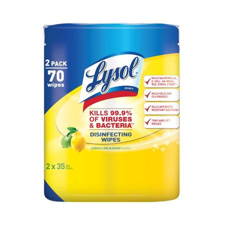 Lysol Disinfecting Wipes, Lemon & Lime Blossom, 70ct (2X35ct)